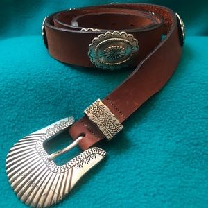 Leather Belt with Silver Buckle and 7 Conchas